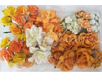 75 Mixed Sizes of Tangerine Handmade Mulberry Paper Flowers