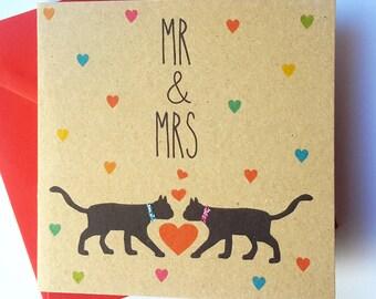 Black Cat Wedding Card - Mr & Mrs
