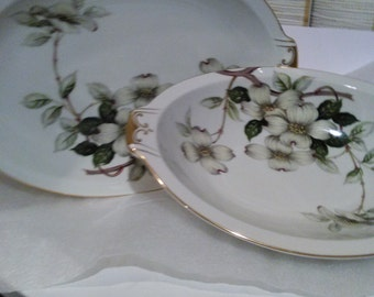 Large Meito  Oval Serving bowl and Oval  Platter  in Dogwood (F & B Japan) by Meito.