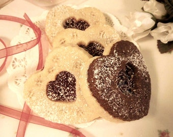 Heart Shaped Butter Sugar Cookie-Cocoa with Raspberry Jam for Her, Birthday, Special Occasion, Combo 1 doz- Wedding Favors