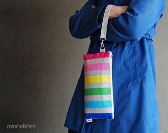 Rainbow Cream Stripe Wristlet by MinneBites / Handmade Spring Purse with Two Zipper Pockets - iPhone Wallet Wrist Strap - Ready to Ship