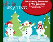 Ice Skating Snowmen PNG graphics Small commercial use