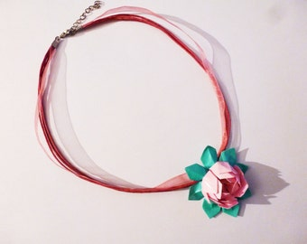 Water lily lotus flower necklace in origami