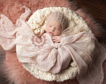 Luxury Newborn Baby Bonnet Cafe Latte Beige Tan for Boy or Girl Easter Spring Summer Luxury Photo Prop Bonnet Hat Mohair Silk