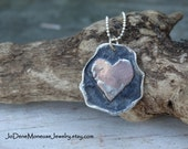 Rustic heart necklace, artisan mixed metal necklace, copper and oxidized sterling silver, metalsmith jewelry