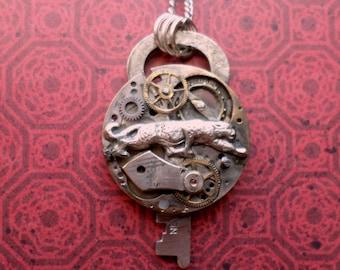 Steampunk Neo Victorian Jaguar Watch Movement and Gears Pendant