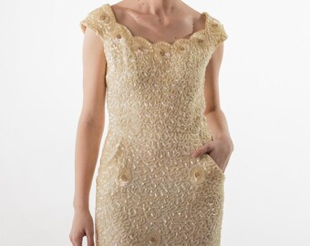 1950's Cream Sequined Wiggle Evening Dress / 50's Cocktail Dress