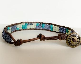Men's Turquoise and Glass Sundial Bracelet