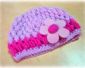 Crochet baby hat - pink baby hat - crochet flower hat - pink and dark pink hat - kids hat - kids accessories - felt flower - girls hat