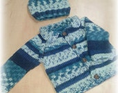 baby boys jacket - knitted jacket - baby knitted  clothes - baby boys clothes- boys knitted jacket - crochet blue jacket - knitted jacket