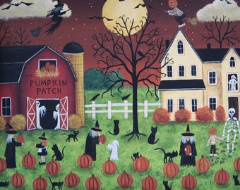 Halloween Folk Art Hand Painted Primitive Wood Serving Tray, Pumpkin Patch Farm, Witches, Ghosts, Cats, Red Barn, Bats, Crows MADE TO ORDER