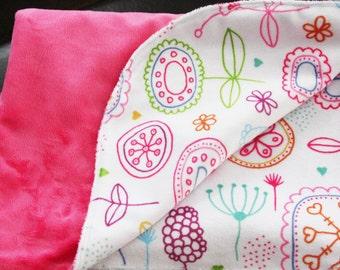 Pink with Modern Flowers Blanket - Stroller Blanket