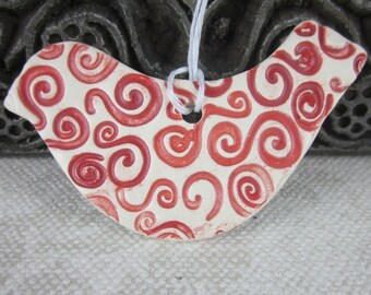 Red and White Spiral Robin Bird Ornament