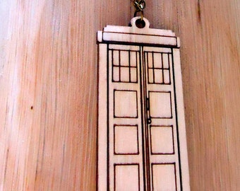 Necklace Jewelry BRITISH POLICE BOX slice necklace Lovely jewelry - Wood Necklace
