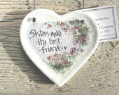 Sister Gift Valentine Birthday Christmas Handcrafted Salt Dough Ornament