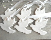 Set of 10 Silhouette Dove Wedding / Baptism Favor Unpainted Finished Ornaments