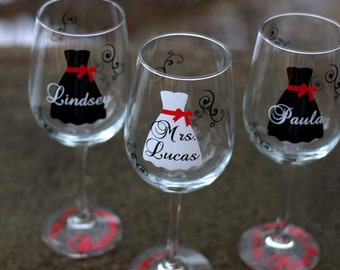 gift idea wine glass, In cludes name and title. Black, white and red ...