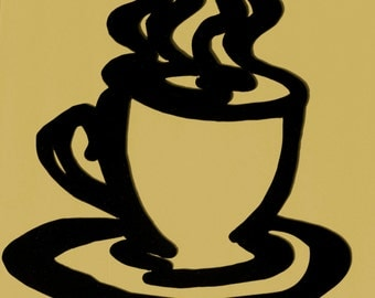 "Cafe,Cappuccino,Metal Art,Coffee Cup,Kitchen,Espresso,Java,Approximate size: 17""w x 19"" h"