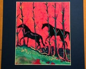 Horses  -  Out of the Woods  -  horses -  original batik painting