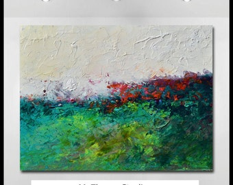 "Original Large Abstract Landscape Oil Painting- ""Winter Green"" - by Claire McElveen"