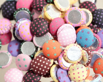Mixed Colors Plush Polka Dot Circle Round Button Flatback Deco Cabochons, Round Button Cabochons, 16mm (R7-029)