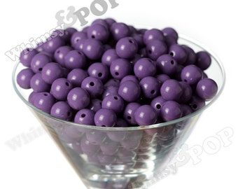 12mm - Purple Gumball Beads, 12mm Gumball Beads, 12mm Beads, Small Gumball Beads, Opaque Acrylic Round Beads, 2mm Hole