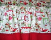 """Retro KITCHEN Stove with RED DOT Band Cotton Print Valance 14""""  16""""  18"""" length Lined or Unlined"""