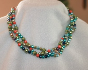Multicolor Braided Swarovski Pearl Necklace