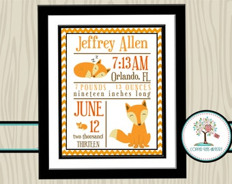 Nursery Print, Nursery Art, Nursery Decor, Birth Statistics, Birth Stats, Personalized, Fox, Woodland Animals, Newborn, Boys Room Wall Decor