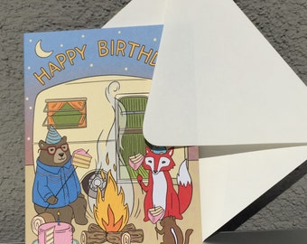 Item 845-Campers Birthday, Greeting Card, Airstream, RV, Smores, Hipster, Wes Anderson, Hand Illustration