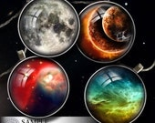 """Digital Collage Sheets - Bottle Cap, Glass Cabochon, Resin Pendant Images - Space - Download - 1.5"""", 1.25"""", 30mm, 1"""", 25mm circles - CG-592n"""