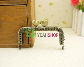 Antique Brass Embossed Purse Frame - Rectangle Sweet Heart - 8.5cm / 3.3 inch (RPF-43)