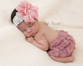 Lace Diaper Cover - Ruffle - Dusty Rose lace diaper cover - Newborn diaper covers - Lace Bloomers - infant diaper cover- baby bloomers