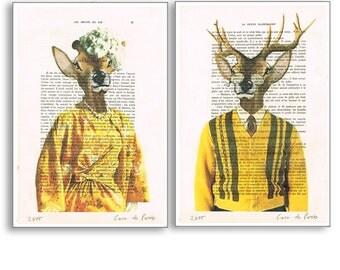 Lady and Mister Deer Print, Vintage Deers Print, Antler, A4 Size, Yellow, Gift for Her Him, Deer Wall Art, Original Artwork, Deer Art
