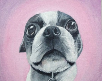 Custom pet painting portrait on canvas from photo oil and acrylic original 10 x 10 dog cat Boston terrier art