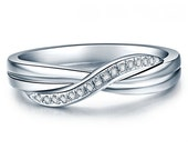 Twisted Diamond Wedding Ring 14k White Gold or Yellow Gold Art Deco Wedding Band