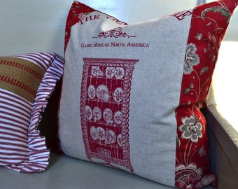 Pillow Cover Cottage Chic Linen Victorian Home Pillow Cover 18 x 18