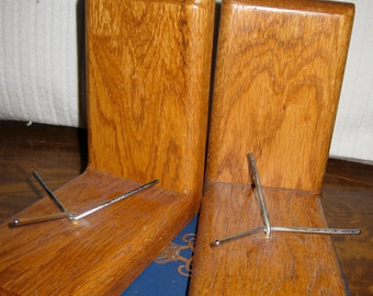 Bookends Wood and Metal Mid Century Library Desk Decor