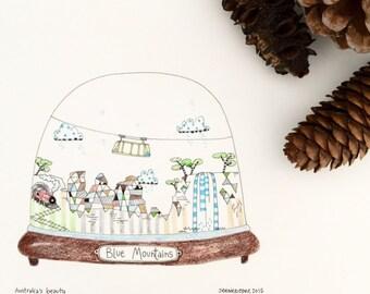 Kids Wall Art, Kids Art, Blue Mountains, Australia Snow Globe Print - Limited Edition 8x10 Print by Jennie Deane
