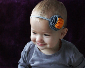 Gray and Yellow Headband - Baby Headband - Headband for Babies / Toddlers - Gray Felt Flower - Baby Hairband