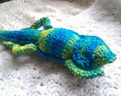 Crocheted Bearded Dragon Plushie in Banana Berry Print