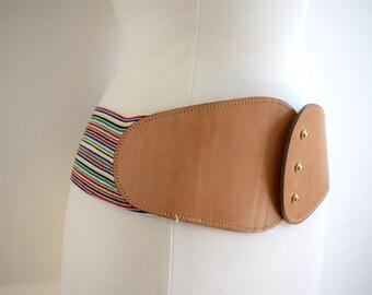 Vintage brown leather and rainbow stripe waist belt / retro bohemian belt / large waist belt