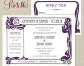 PRINTABLE Art Nouveau Borders Wedding Invitation and RSVP- Digital diy Wedding or Shower - I set text, YOU print