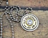 Shotgun Shell ~ Pendant Necklace ~ Remington 20g Shotgun Shell ~ Ballchain ~Crystal Gemstone