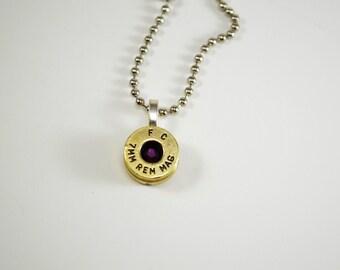 Bullet Jewelry ~ Bullet Necklace ~ Shell Casing 7MM ~ Amethyst Swarovski Gem Pendant Necklace