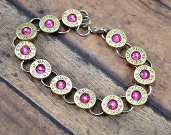 BULLET BRACELET ~ Tennis Bracelet ~ Bullet Shell Casing Bracelet ~ Winchester 45 Auto Caliber ~ Rose Swarovski Gems