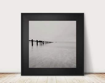 black and white photography ocean photograph beach photograph landscape photograph beach house decor minimalist decor ocean print