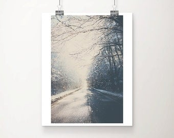 falling snow photograph road photograph winter photograph travel photography wanderlust art tree photograph falling snow print
