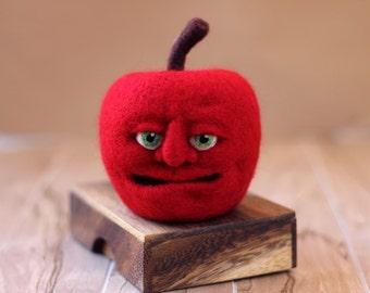"Red Apple Fruit with a Face Needle Felt Wool 4"" - Home Decor Teacher Gift OOAK"