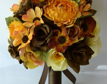 """17 Piece Package Wedding Bridal Bride Maid Bridesmaid Bouquet Boutonniere Corsage Silk Flower BROWN fall YELLOW """"Lily of Angeles"""" YEBR02"""
